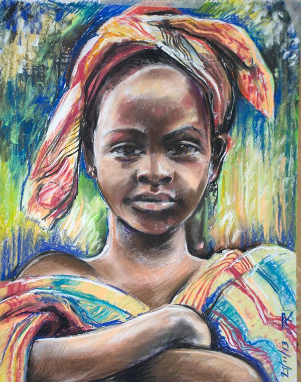 Portrait of a Malian girl, pastel