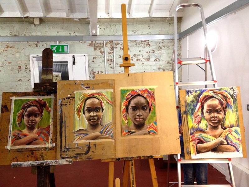 Portrait class - drawings of Malian girl