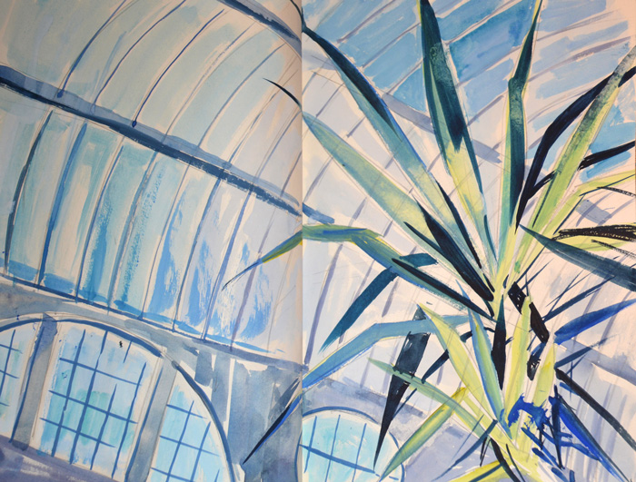 Ceiling, Butterfly House, watercolour
