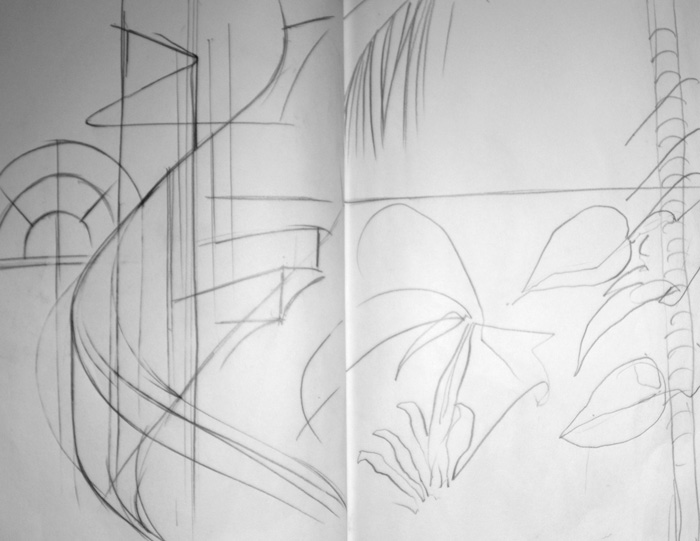 Staircase, Butterfly House, pencil