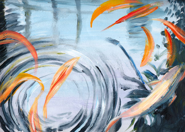 Koi ripples, Butterfly House. Acrylic sketch.